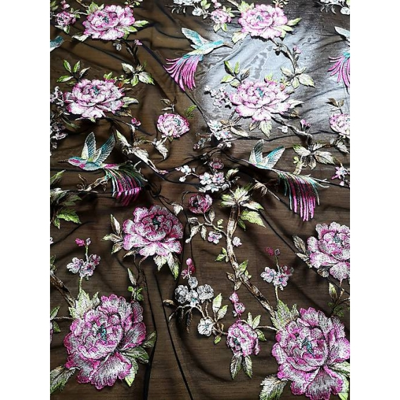 Tulle embroidery fabric