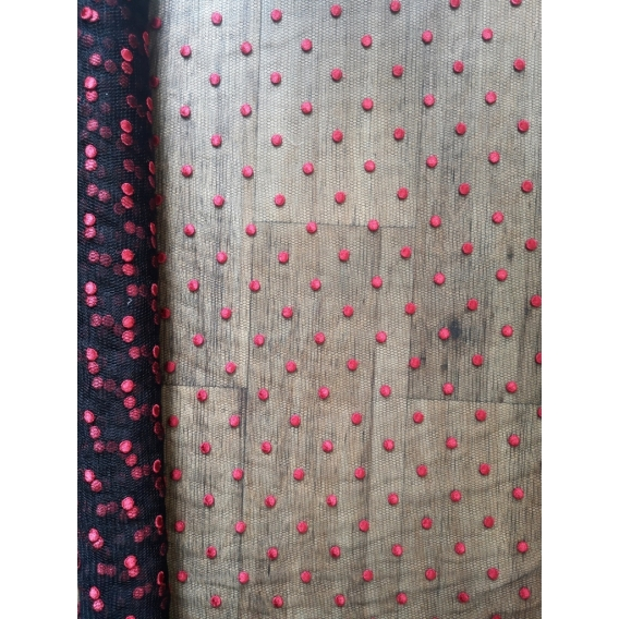 Tulle fabric with dots embroidery