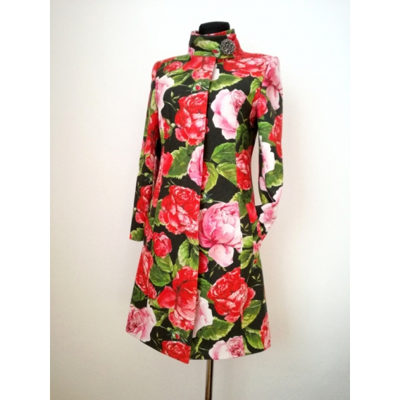 Original coat with roses print