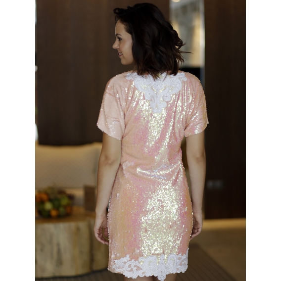 Original dress with lace applique