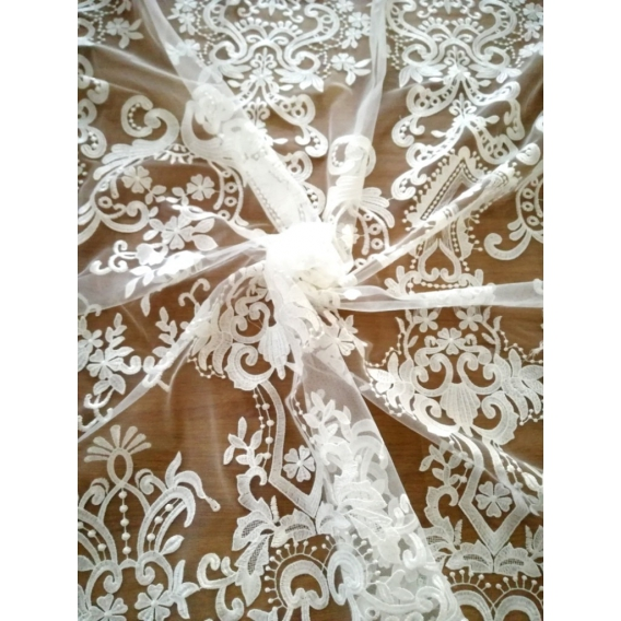 Wedding lace on tulle ground