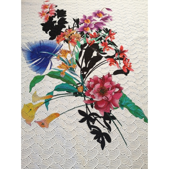 Printed Cotton madeira embroidery
