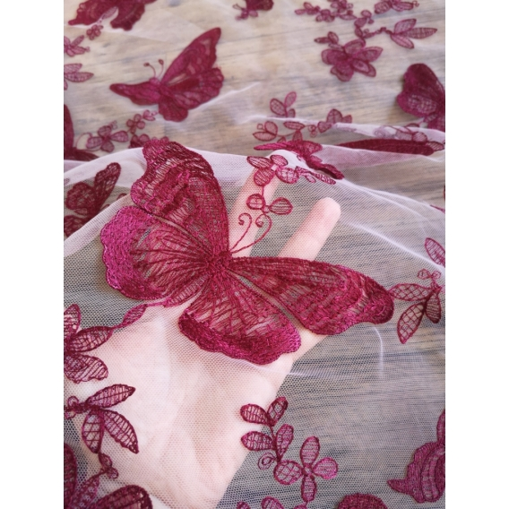 Exclusive tulle embroidery fabric 3D