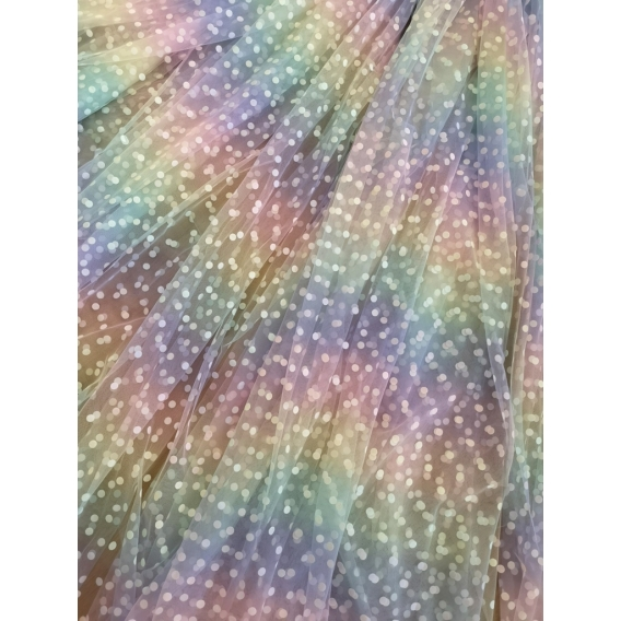 Rainbow tulle fabric with dots